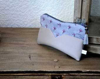 """Purse """"shabby chic"""" cotton and faux leather"""