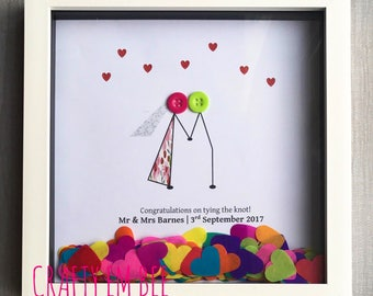 Personalised Wedding Day / Anniversary Button Frame/Print