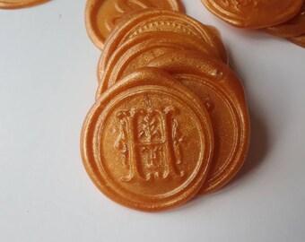 "Flourish initial H wedding party invitation self adhesive wax seal peel sticker 3/4"" x5"