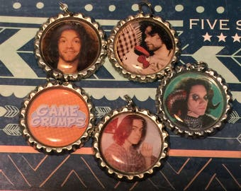 5 styles-Game Grumps Bottlecap Necklace Pendants, Magnets, and Pins - Dan Avidan, Arin Hanson, Ninja Brian, Youtuber