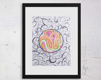 Original watercolor on paper. Abstract art. Sinuous forms. Black, white, multicolor. Neon. Rainbow. 9 x 12 inches.