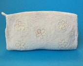 1970s Vintage White Floral Tiny Hand Beaded, Satin Lined, Evening Clutch Purse, Made in Japan