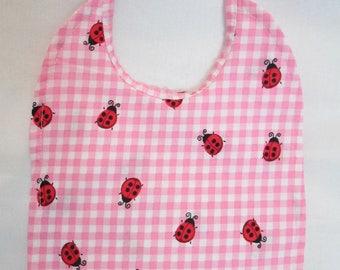 Cute Ladybugs! Pink and White Gingham! Reversible! Handmade! 100% Cotton! Baby Bib!