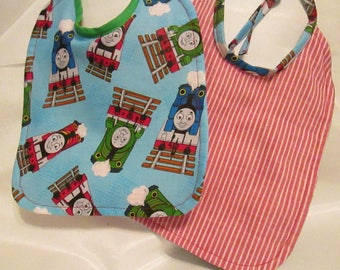 Thomas the Train! Baby Bib. Red and White Striped Backing. Handmade. 100% Cotton.