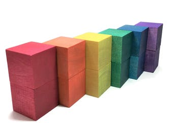 Rainbow Wooden Block Set /  Natural Wooden Toy / Construction / Color Sorting & Matching / Preschool / Toddler / STEM / Open-Ended Play
