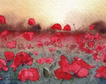 Aceo Original Watercolor Painting Field of Poppies Fine Art