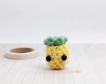 Pineapple Keychain, Kawaii Crochet Pineapple, Small Amigurumi Pineapple Charm, Kawaii Plush Keychain, Cute Gift Idea