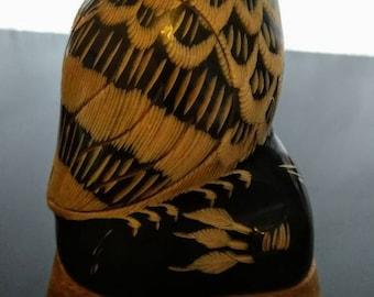 Hand-carved Buffalo Horn Owl