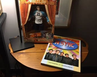 NSYNC Justin Timberlake Collectible Marionette  & Throwback 'NSYNC Book