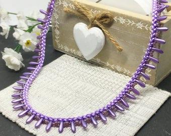 Kumihimo lilac teardrop necklace, Matinee length