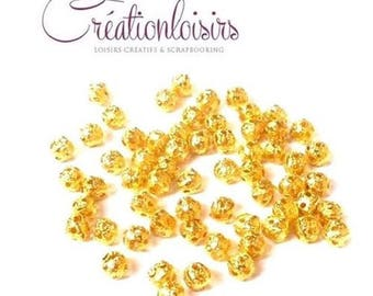 100 spacer beads filigree gold plated 4 x 4 mm