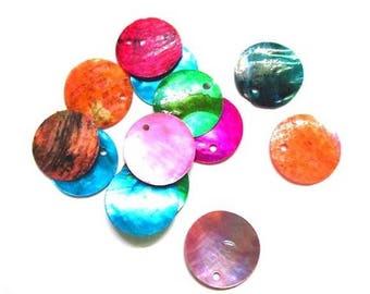 10 pendants mother of Pearl Sequin 18 mm