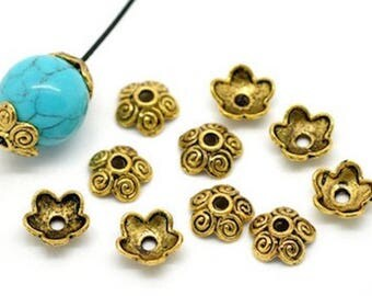 20 beads caps flower gold distressed 10 x 4 mm