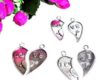 "4 pendants charms charm ""LO VE"" heart, jewelry accessory"