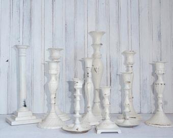 Shabby Chic Wedding White Candlesticks - Set of Ten