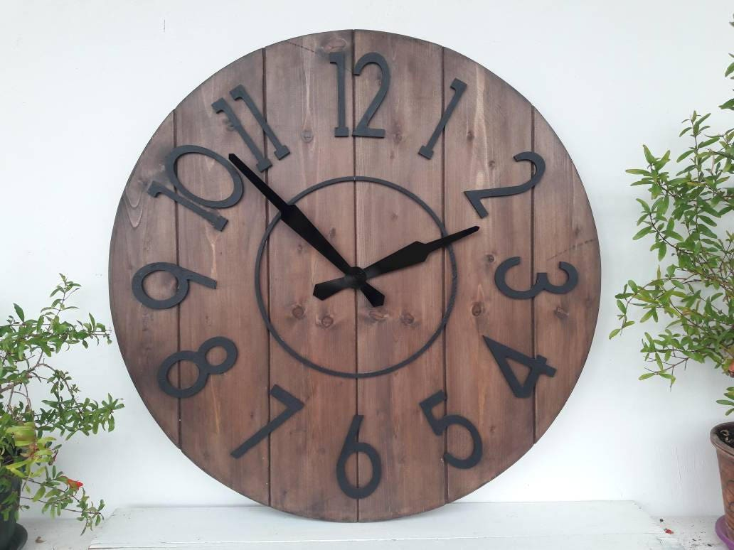 Large Wall Clock 24 Inch Rustic Wall Clock For Living Room