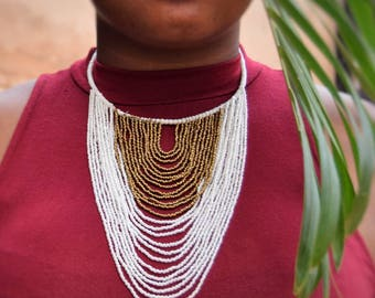 Maasai two-toned beaded necklace | beads & brass closure | African tribal jewelry | handmade in Kenya