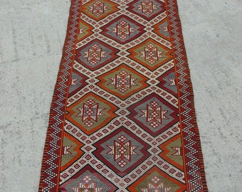 Turkish Cicim Kilim Runner Rug, Entrance Runner, Hallway Runner, Multi-Colored Tribal Runner Rug, Handwoven Kilim Runner, 81x307cm / 2'6x10'