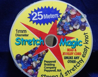 Stretch Magic® Jewelry and Bead Cord 1mm Diameter and 25 Meters Long, Thin Clear Elastic in Sealed Bulk Package Made in the USA