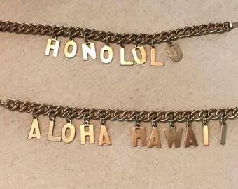 1950's Gold Tone Hawaiian Souvenir Charm Bracelets