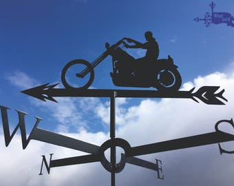 MOTORCYCLE RIDER 1 Metal Plasmacut Wind Direction Roof Decor