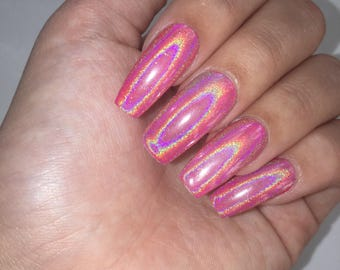 Pink Holographic Press On Nails
