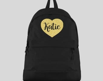 Personalised Backpack with ANY NAME in Gold Glitter Heart- Kids Children Teenagers School rucksack - Back To School Bag Backpack -CBPH