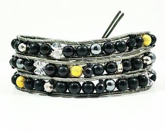 Glimmer of Gold~Handmade Wrap Bracelet~3 Wrap Bracelet~Wrap Bracelet Leather~Obsidian Beaded Bracelet~Czech Glass~Gold Luster~Silver Gold