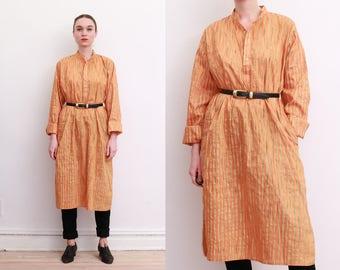 Vintage Indian Tangerine Striped Tunic Dress / M-L