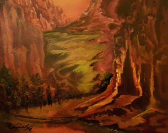 """Oil painting print 8.5x 11"""" - The Metal Mountains- free shipping"""
