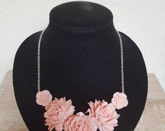 Flower necklace and round earrings pink resin resin fimo free Shipping