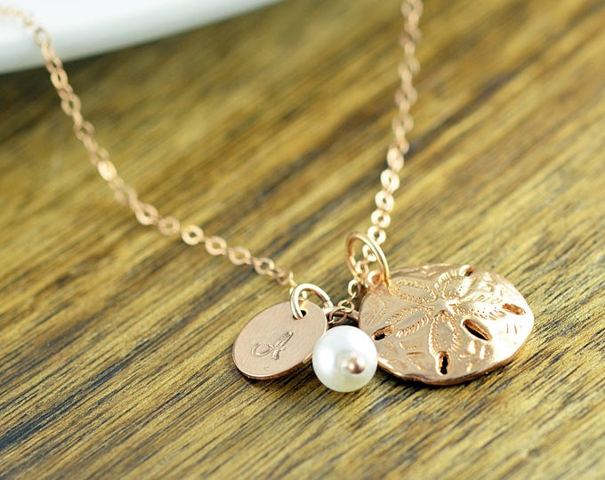 Sand Dollar Necklace, Sanddollar Charm Necklace, Beach Jewelry, Initial Jewelry, Beach Girl, Rose Gold Sand Dollar Necklace