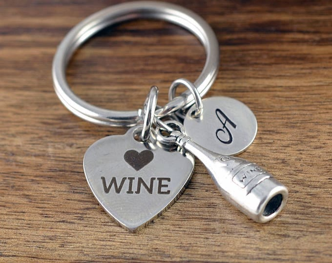 Personalized KeyChain - Love Wine- Wine Lover Gift - Wine Lover Gifts for Women - Gift for Her, Engraved Keychain, Best Friend Birthday Gift
