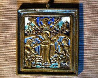 19th century Russian Antique Orthodox Icon Brass Copper Bronze