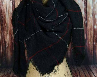 WINTER MARKDOWN Black Blanket Scarf, Tartan Scarf, Plaid Scarf, Zara Scarf, Oversided Scarf, Shawl, Wrap