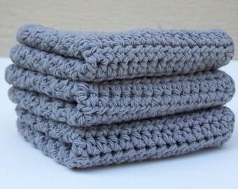 Gray Cotton Dish Rag / Crochet Washcloth / Gray Dishcloth / Farmhouse Dishcloth / Crocheted Dishcloth / Cotton Kitchen Rag/ Cotton Washcloth