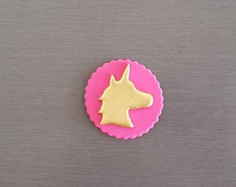 6 x Pink and Gold Unicorn cupcake toppers, unicorn party, edible fondant unicorn cake toppers