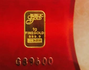 24k solid 999.99 gold bar bullion 1 gram authentic fine Gold For gift card certificate of authenticity