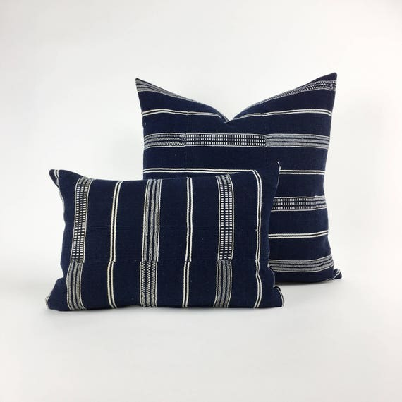 18 x 12 Navy and Ivory Striped Pillow Cover from Vintage Nigerian Cloth