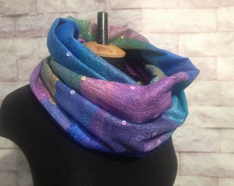 Wool soft scarf ombre scarf felted cowl women neck warmer merino wool hood spring scarf cotton infinity cowl loop scarf
