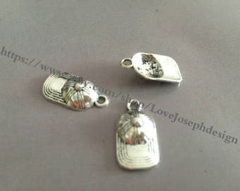 wholesale 100 Pieces /Lot Antique Silver Plated 10mmx20mm baseball caps Charms (#037)