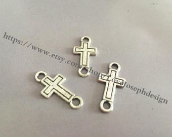 wholesale 50 Pieces /Lot Antique Silver Plated 24mmx12mm cross connector (#039)
