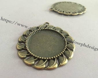 wholesale 10 Pieces /Lot Antique Bronze Plated 30mm flower cabochon bezel trays charms (# 0355)
