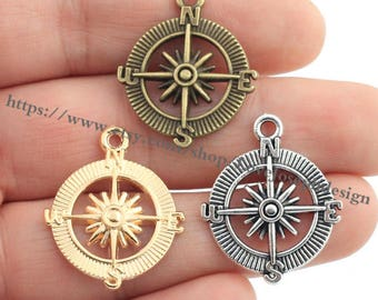 wholesale 100 Pieces /Lot Antique Bronze Plated 25mmx29mm Compass charms