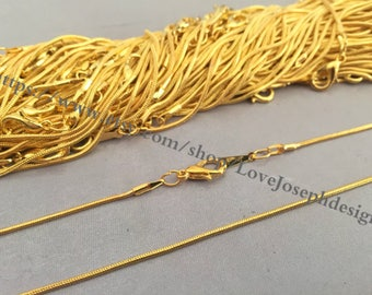 wholesale 100pieces 1.5mm gold plated 17inch snake bone ball necklace chains with 10mm lobster clasps (#0511)
