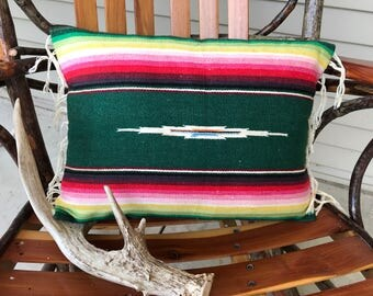 Pillow cover made of vintage runner, Southwest, with fringe, multiple colors, primary green