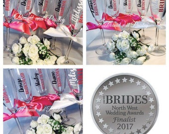 Bridesmaid glasses, personalised glasses, wedding glasses