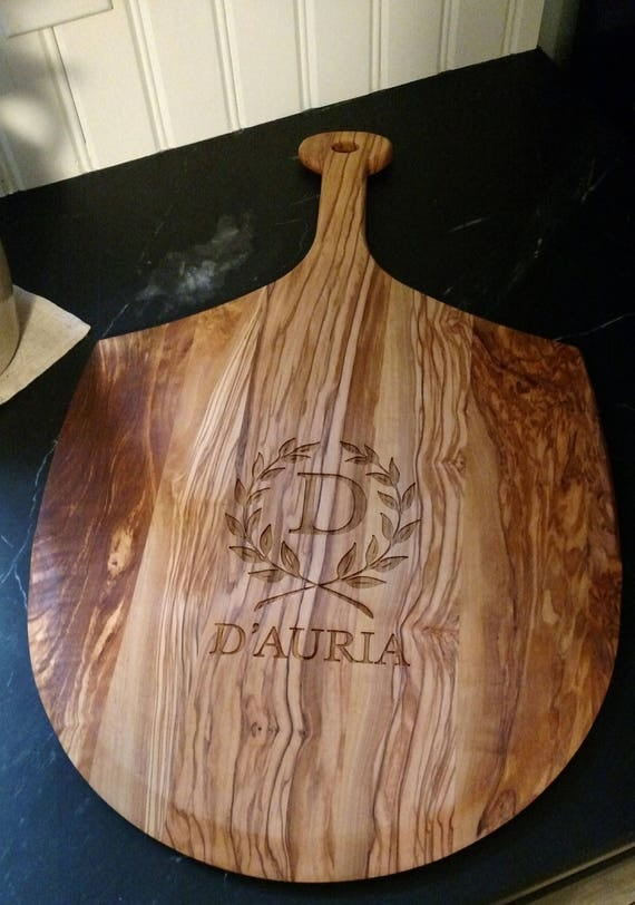 "Engraved Olive Wood Pizza Board 24"" x 14"""