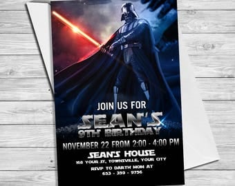 Star Wars Invitation - Star Wars Party Invitation- Star Wars Birthday Party Invite - Star Wars Party Printable- Darth Vader Invitation |SW_4