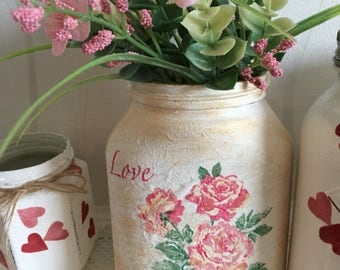 READY TO SHIP Hand decorated shabby chic style rose jar, vintage style, roses, vase, ladies gift, home decor, decoupage, valentines gift